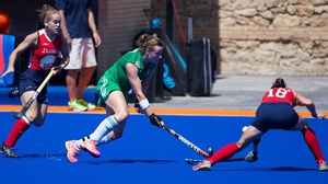 Megan Frazer in the thick of the action against USA in Valencia