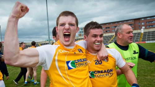 Antrim's Owen Gallagher and Patrick McBride celebrate their victory at the final whistle