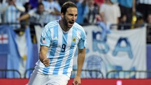 Argentina's forward Gonzalo Higuain celebrates after scoring