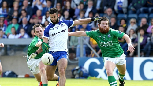 Paul McCusker and Ciaran Flaherty of Fermanagh tackle Neil McAdam of Monaghan