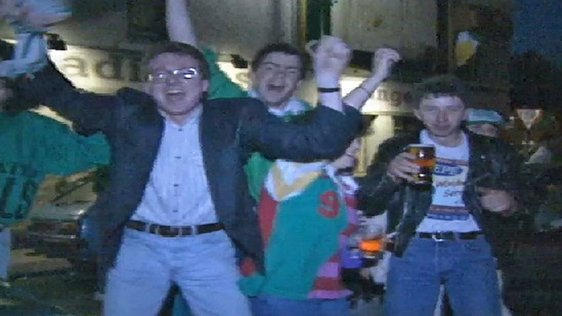 Celebrations in Dublin as Ireland reach the last 16 at Italia 90