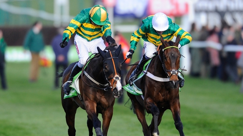 Barry Geraghty riding Jezki (L) wins The Stan James Champion Hurdle from My Tent Or Yours and Tony McCoy (R) at Cheltenham last year