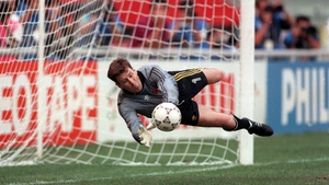 Packie Bonner saves Daniel Timofte's penalty in the shoot-out