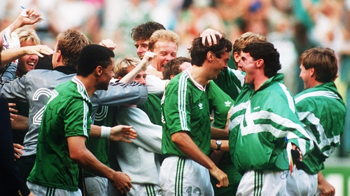 The Republic of Ireland team celebrate David O'Leary's penalty against Romania