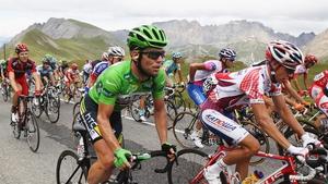 Tour de France riders ascending the Col du Galibier in 2011