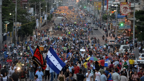 Protesters are demanding the resignation of President Hernandez