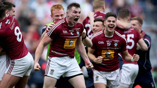 Kieran Martin celebrates victory with his Westmeath team-mates