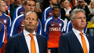 Guus Hiddink (right) will be succeeded by one of his assistants, Danny Blind (left)