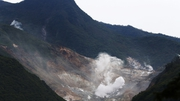 Steam rises from the rocky mountain slopes near the hot springs resort of Hakone, Kanagawa prefecture
