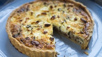 Goats Cheese, Red Onion and Thyme Quiche - This quiche uses a soft curd goat's cheese, which is wonderfully smooth and light with clean lemony flavours with hints of flowers and sweetness that develop when pared with the caramelised red onions.