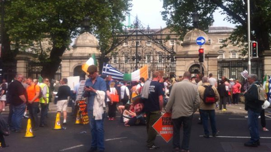 Water Protesters Outside the Dáil