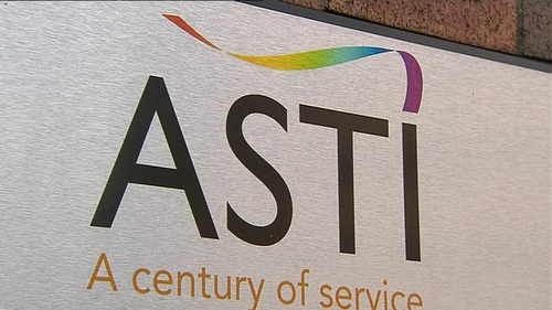 A protest organised by the ASTI took place outside the Department of Education this afternoon