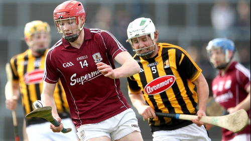 Galway's Cathal Mannion and Padraig Walsh of Kilkenny during the sides' league meeting in March