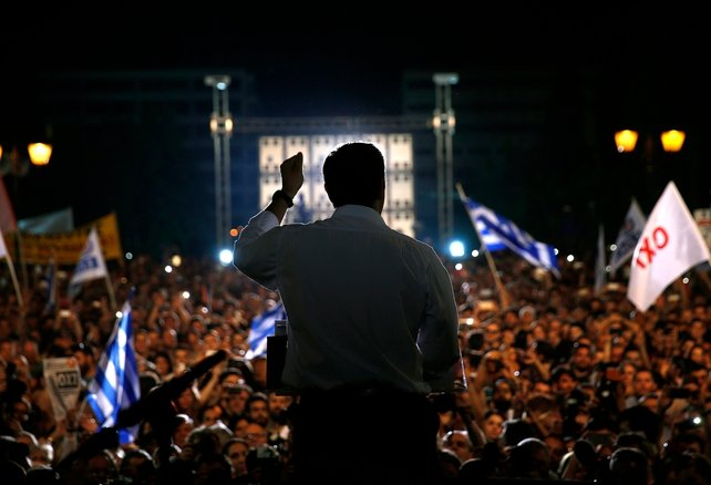 Alexis Tsipras addresses supporters of a 'NO' vote in upcoming referendum at Syntagma Square in Athens