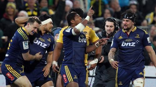 Waisake Naholo celebrates his try