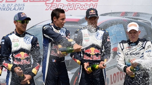 Sebastien Ogier (second from left) has won five of the seven rallies contested in the WRC this season