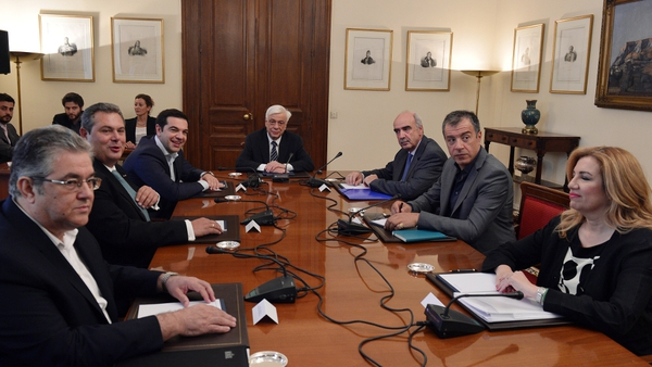 Greece's main political leaders meet President Prokopis Pavlopoulos (C) in Athens