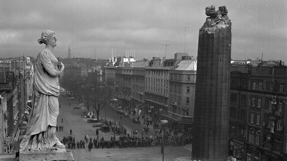 Remains of Nelson Pillar from Roof of the GPO on Dublin's O'Connell Street (1966)