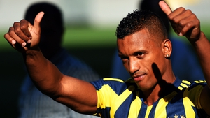 Nani gestures to fans after signing for Fenerbache