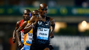 Mo Farah leads the pack during the 10,000m at the IAAF Diamond League Prefontaine Classic