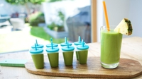 Mum's Morning Smoothie with a Twist - The perfect green smoothie for Mum that doubles as ice lollies for the kids. Regular ice lollies are packed full of sugar and artificial colours and flavourings…but you won't believe what our natural colouring ingredient is!