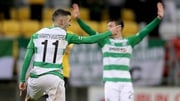 Kieran Marty Waters of Shamrock Rovers celebrates scoring his side's third goal