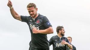 Dane Massey celebrates his goal against Galway United