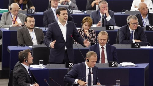 Greek Prime Minister Alexis Tsipras speaks in the plenary hall at the European Parliament in Strasbourg