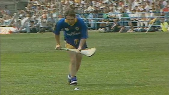 Clare hurling goalkeeper takes a penalty during the 1995 Munster Final.