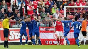 Skonto Riga's Vladislavs Sorokins celebrates scoring the first goal of the game