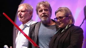 Hamill, centre, with Harrison Ford and Carrie Fisher