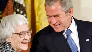 Harper Lee meeting US President George W Bush in November 2007 when he awarded her the Presidential Medal