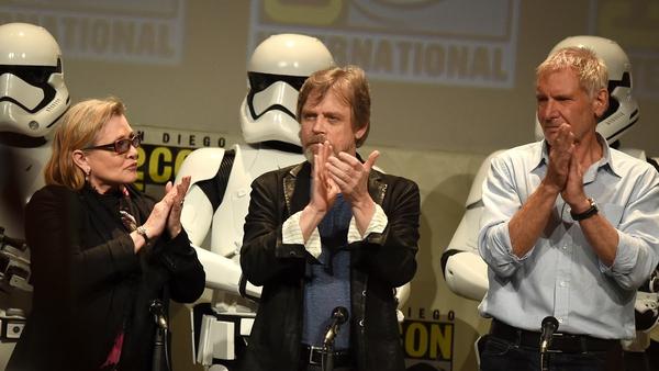 "Hamill (centre) said even a dark side turn for Luke was ""possible"""