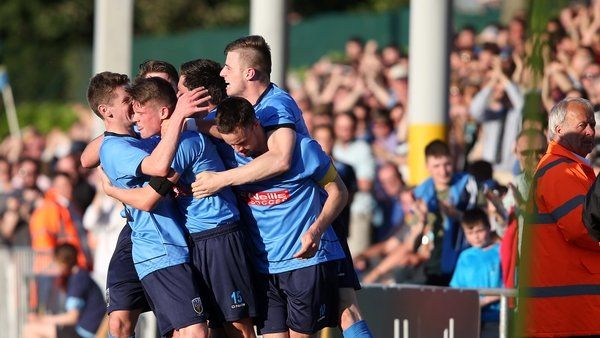 UCD's Ryan Swan celebrates his goal with team-mates after scoring in the first round of qualification