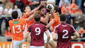Galway's Fiontan O'Curraoin claims the breaking ball in his side's All-Ireland Football Championship clash with Armagh