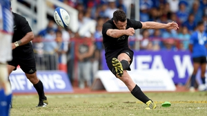 New Zealand out-half Dan Carter kicks a penalty during his team's victory over Samoa in Apia