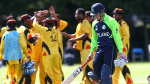 Ireland's Gary Wilson leaves the crease having being stumped