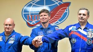 (L-R) Scott Kelly, Gennady Padalka and Mikhail Kornienko are on board the ISS
