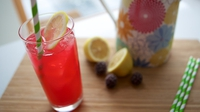 Pink Lemonade - The summer holidays are here so get the kids into the kitchen and whip up a batch of this delicious pink lemonade! Brilliant fun and a great way to introduce rhubarb to them!