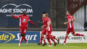 Olivier Occean celebrates scoring his first goal of the evening from the penalty spot