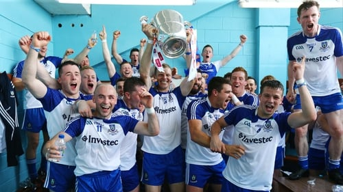 Monaghan players celebrate in the dressing room