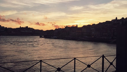 View from Dom Luis Bridge as the sun sets over the River Douro