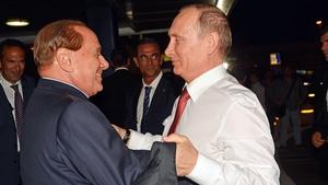 Silvio Berlusconi welcomes Vladimir Putin to Rome in 2012