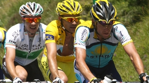Nicolas Roche (l) and Lance Armstrong (r) pictured during stage eight of the 2009 Tour de France
