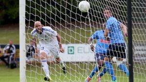 Slovan Bratislava's Robert Vittek scores the opening goal