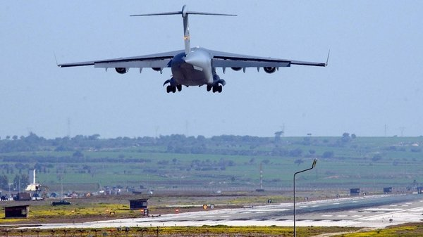 A US military plane lands at Incirlik Air Base in 2003