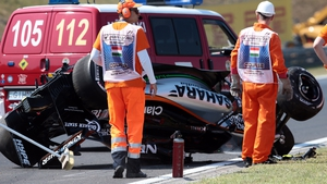 The Mexican driver suffered a rear suspension failure and lost control of his Force India