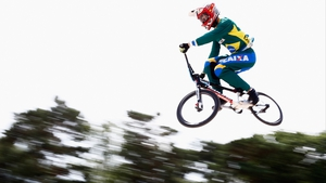 Action at the Men's Elite training session during the UCI BMX World Championships in Zolder, Belgium