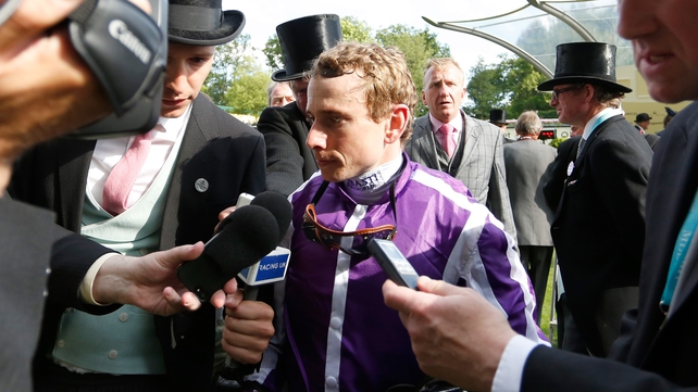 Ryan Moore celebrates the Queen's Vase after taking a record ninth victory during Royal Ascot