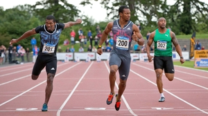 Jamaica's Yohan Blake wins the 100m in Santry